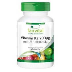 Vitamin K2 200µg mit D3 10000 I.E., 90 Kapseln